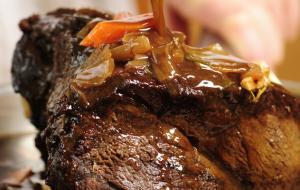 Braised shoulder of beef with puréed squash