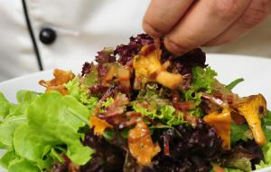 Summer salad with crispy speck, Vinschger Paarl croûtons and chanterelles